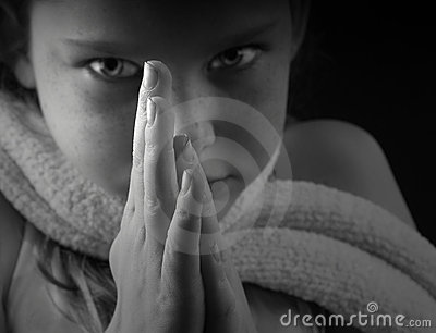 Young Girl with Hands in Prayer