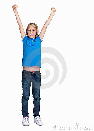 Young girl with hands raised isolated on white
