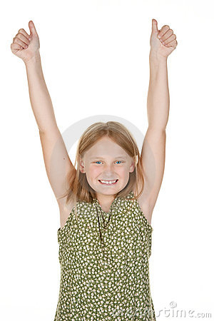 Young girl happy arms raised