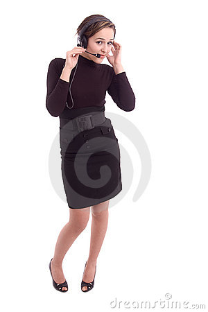 Young girl with head set listening