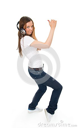 The young girl with a headphones