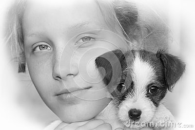 Young girl and her puppy