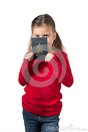 Young Girl Hiding her Face Behind Canadian Passport