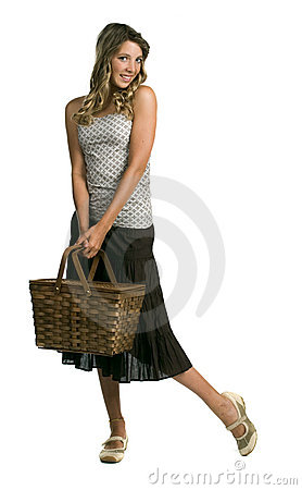 Young girl holding a basket