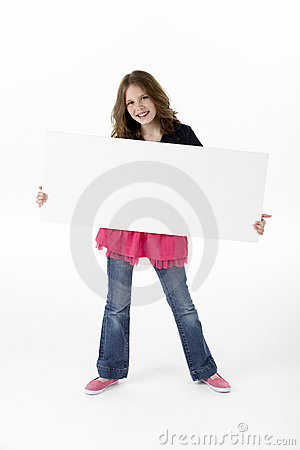 Young Girl Holding Party White Card