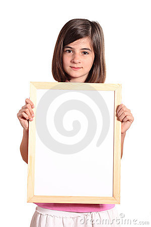 Young girl holding a white banner