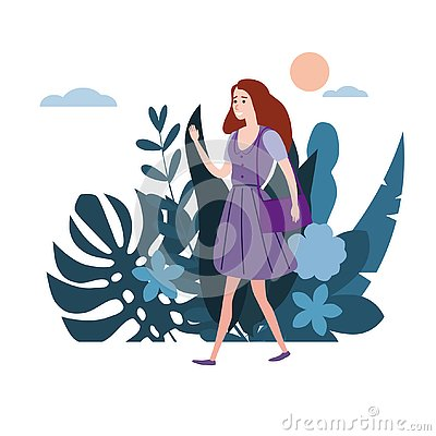 Free Young Girl In Lilac Dress Goes About His Business. Background Flora Flowers Floral Leaves. Trend Design Flat Cartoons Stock Photo - 145073020