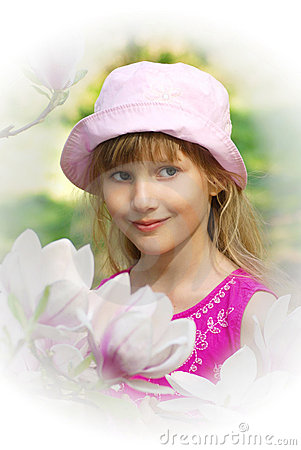 Free Young Girl In Spring Garden In High Key Stock Photo - 14138480