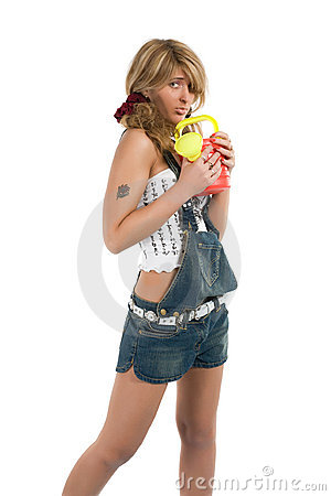 Young girl in jeans shorts