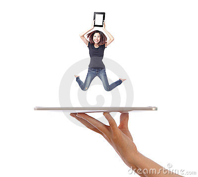 Young girl jump showing tablet pc on people hand