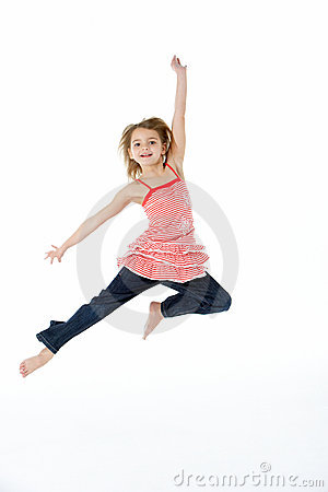 Young Girl Jumping In Mid Air