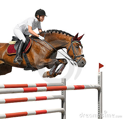 Free Young Girl Jumping With Bay Horse Royalty Free Stock Photo - 19568055