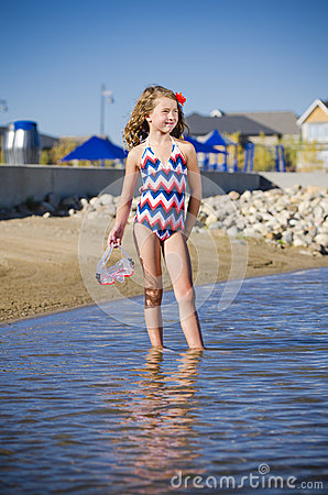 Young girl at the lake neighbourhood