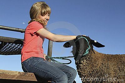 Young Girl and Lamb
