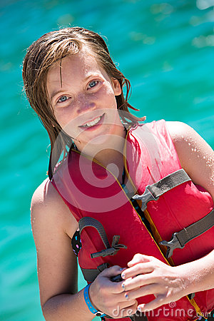 Young girl in life vest
