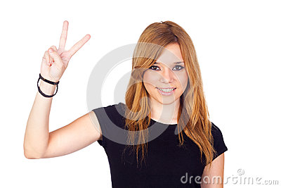 Young Girl Making a Victory Sign with Her Hands