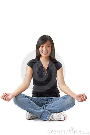 Young girl meditating