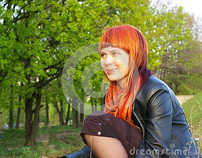 Young girl on nature