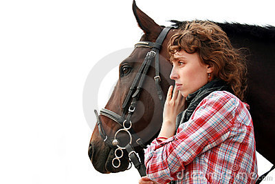Young girl near horse