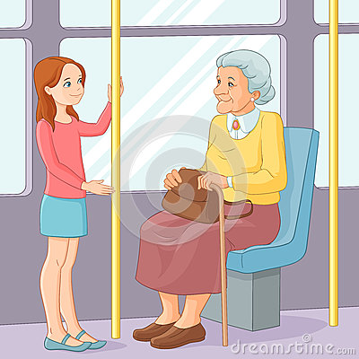 Free Young Girl Offering A Seat To An Old Lady In Public Transport. Vector Illustration. Royalty Free Stock Photos - 70971968
