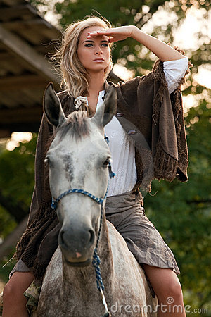 Free Young Girl On Horse Stock Image - 20635971