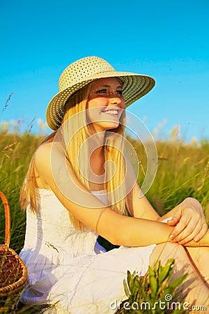 Young girl on picnic