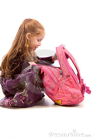 young Girl with pink backpack