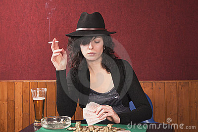 Young girl playing poker
