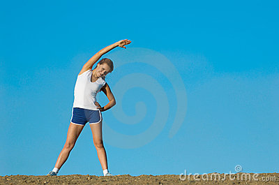 Young girl plays sports