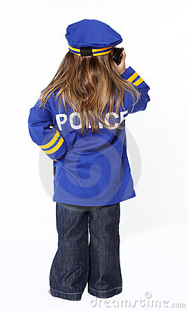 Young girl in police costume