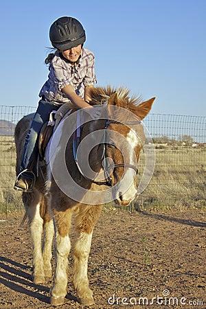 Young girl on pony