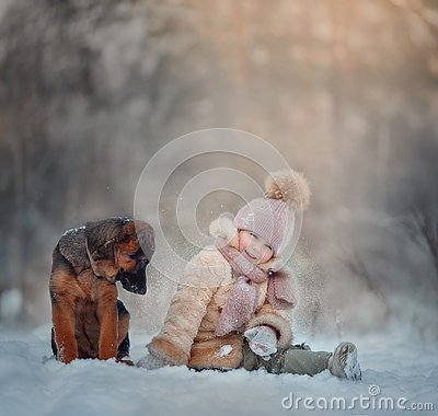 Free Young Girl Portrait With Puppy Under Snow Royalty Free Stock Photos - 142348398