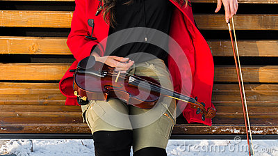 Young girl poses with violin Stock Photo