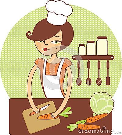 Young girl preparing salad