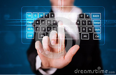 Girl pressing virtual type of keyboard