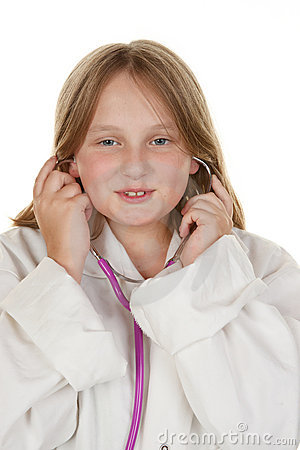 Young girl pretending to be a doctor