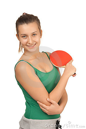 Young girl with a racket ping-pong