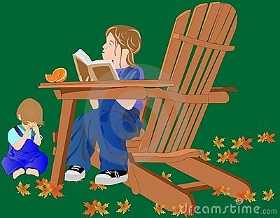 A Young girl reading to her brother...