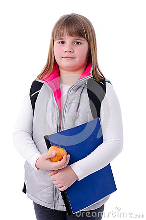 Young girl ready to school