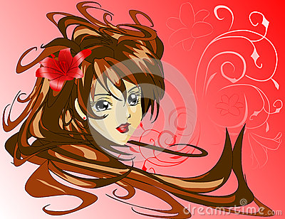 Young girl with red lily in hair 2