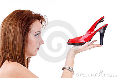 Young girl with a red shoe