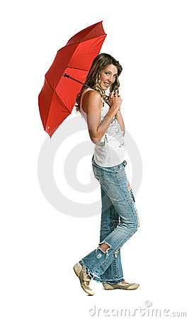 Illustration of Cartoon Girl With Umbrella