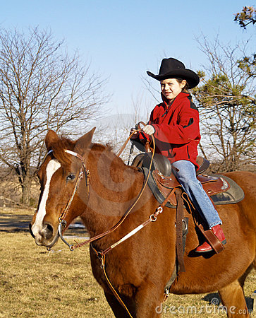 Free Young Girl Riding Horse Stock Image - 6814351