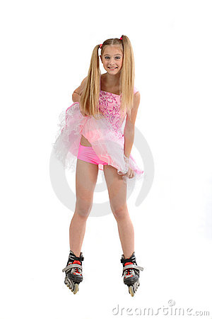 Young Girl Roller Blades Stock Image