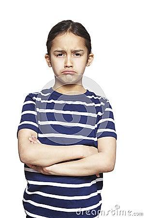 Young girl sad and upset