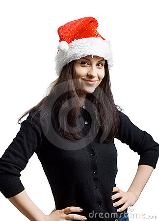 Young girl in a Santa Claus hat