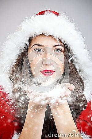 Young girl in santa cloth