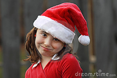 Young Girl in Santa Hat