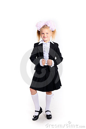 Young girl in school uniform