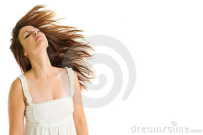 Young girl shaking her head